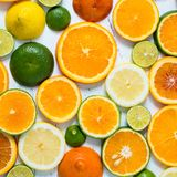 在白色木背景的柑橘样式 被分类的柑橘水果 切片桔子,蜜桔,柠檬,石灰 顶视图 正方形 免版税库存图片