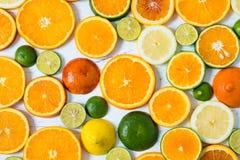 在白色木背景的柑橘样式 被分类的柑橘水果 切片桔子,蜜桔,柠檬,石灰 顶视图 免版税库存图片