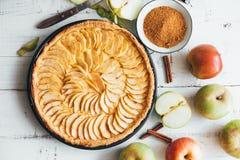 在白色木背景的自创苹果饼馅饼 免版税库存照片