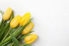 在白色木背景的黄色郁金香 春天-与大方的本体空间的海报 库存照片