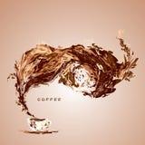 在白色杯子上的惊人的咖啡飞溅 向量 图库摄影
