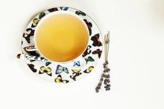 在白色杯子的热的茶 免版税库存照片
