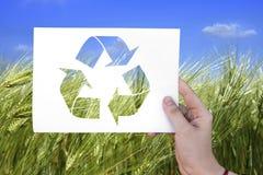 在白色板料的生态标志 库存图片