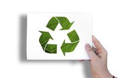 在白色板料的生态标志 免版税库存照片
