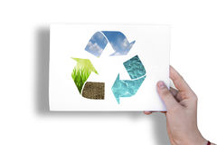 在白色板料的生态标志 库存照片