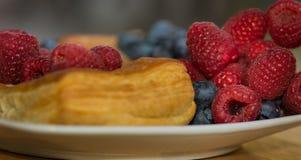 在白色板材的可口丹麦酥皮点心用蓝莓和粗锉 库存照片