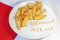 在白色板材的油煎的炸薯条 库存照片