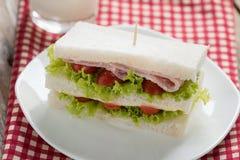 在白色板材的火腿和乳酪三明治 图库摄影