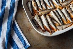 在白色板材的烤波儿地克的鲱鱼 免版税库存照片