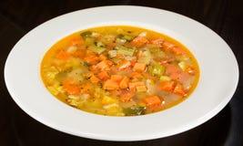 在白色板材的蔬菜通心粉汤蔬菜汤 免版税库存照片