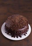 在白色板材的豪华富有的巧克力蛋糕 免版税图库摄影