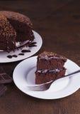 在白色板材的豪华富有的巧克力蛋糕 免版税库存图片