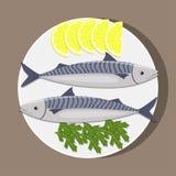 在白色板材的鱼用柠檬和草本 烹调鲭鱼 传染媒介平的例证 免版税库存图片