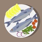 在白色板材的鱼用柠檬,草本,蕃茄,葱 烹调三文鱼 传染媒介平的例证 免版税库存照片