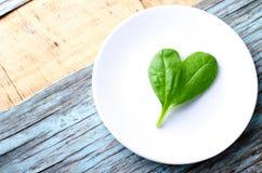在白色板材,蓝色木背景的新鲜的婴孩菠菜心脏形状叶子 与拷贝空间的顶视图 爱,健康 免版税库存图片