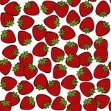 在白色果子无缝的样式的红色草莓 免版税库存图片