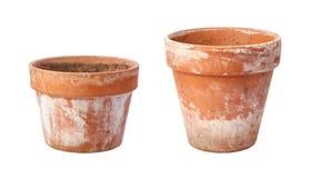 在白色查出的二张老花盆 库存照片