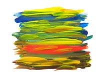 在白色查出的五颜六色的水彩画笔冲程 免版税库存图片