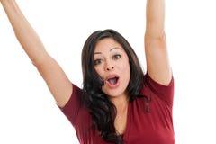 在白色查出的兴奋西班牙妇女欢呼 免版税库存图片