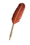 在白色查出的古色古香的羽毛笔 免版税库存照片