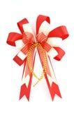 在白色查出的圣诞节弓 免版税库存照片
