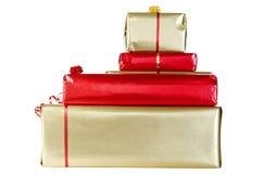 在白色查出的圣诞节礼品 免版税图库摄影