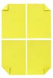 在白色查出的多种黄色纸张的收集 库存照片