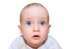 在白色查出的害怕的婴孩 免版税库存图片