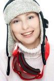在白色查出的微笑的滑雪者 免版税图库摄影