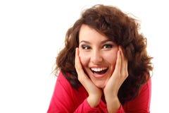 在白色查出的惊奇的可爱的青少年的女孩 免版税库存图片