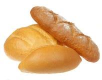 在白色查出的新鲜面包 免版税库存照片