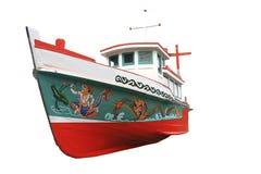 在白色查出的木小船 库存图片
