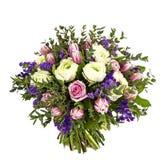 在白色查出的桃红色,空白和紫罗兰色花花束  免版税库存图片