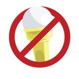 在白色查出的没有冰淇凌符号 免版税库存照片