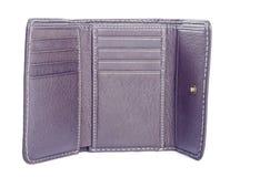 在白色查出的空的布朗皮革钱包 库存图片