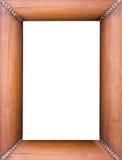 在白色查出的竹照片框架 库存照片