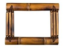在白色查出的竹照片框架 图库摄影