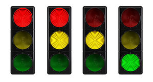 在白色查出的红绿灯 免版税库存图片