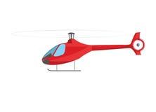 在白色查出的红色直升机 库存图片