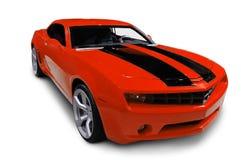 在白色查出的红色跑车 免版税库存图片