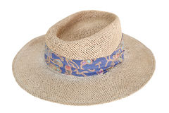 在白色查出的织法棕色妇女帽子 免版税库存照片