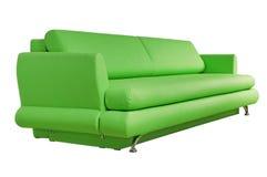 在白色查出的绿色沙发 库存照片