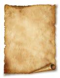 在白色查出的老纸滚动 免版税库存图片