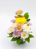 在白色查出的花瓶的五颜六色的花花束排列 库存图片