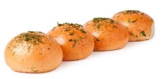 在白色查出的蒜味面包 免版税库存图片