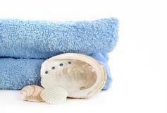 在白色查出的蓝色毛巾和海运壳 库存图片