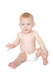 在白色查出的逗人喜爱的婴孩 免版税库存图片