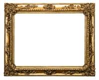 在白色查出的金黄老框架 库存图片