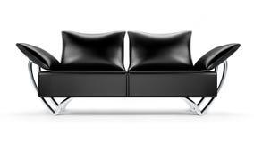 在白色查出的魅力黑色皮革沙发