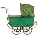 在白色查出的19世纪婴孩摇篮车 免版税库存照片